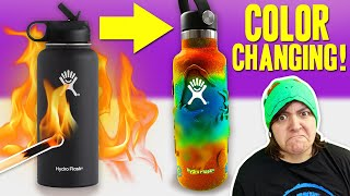 $35 FOR THIS? CUSTOM Heat Color Changing Hydro Flask +giveaway DIY Craft