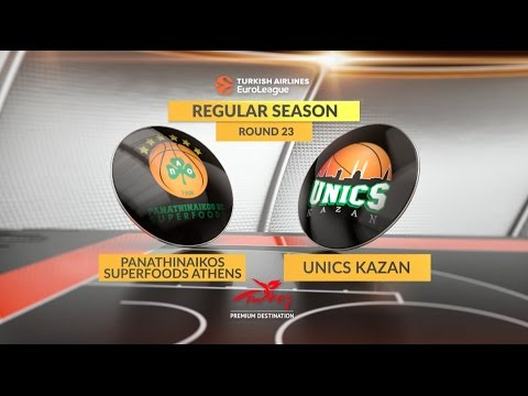 EuroLeague Highlights RS Round 23: Panathinaikos Superfoods Athens 83-82 Unics Kazan
