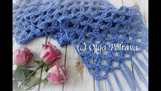 How To Crochet Lace Scarf With Clusters Design, Crochet Video Tutorial