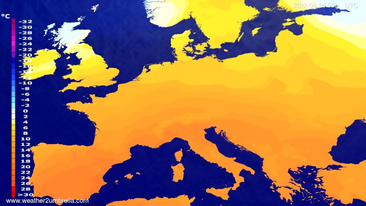 Temperature forecast Europe 2017-06-21