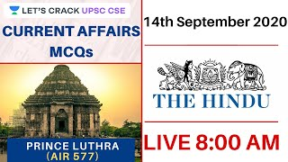 14-Sept-2020 | Current Affairs MCQs | The Hindu | UPSC CSE/IAS 2020 | Prince Luthra(AIR 577)