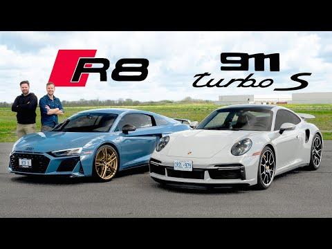 2021 Porsche 911 Turbo S vs Audi R8 V10 Decennium // DRAG RACE, ROAD & TRACK REVIEW