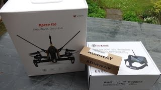 Walkera Rodeo 150 FPV Racing Drone, Eachine EV800, unboxing !