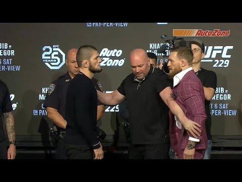 Le face à face entre Khabib et McGregor lors de la conférence de presse de l'UFC 229
