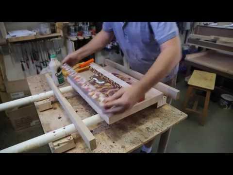Intarsien Holzwappen Scheidebrett fräsen mit CNC-STEP Fräsmaschine High-Z S-720 / t