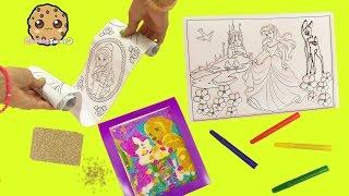 Dollar Tree Craft Kits - Disney Princess Ariel 3D Coloring + Lisa Frank Glitter Art - Video