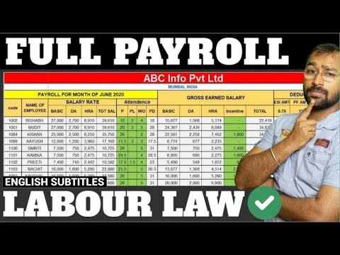 🔴How to make Payroll in Excel for beginners | Payroll Calculation as per Labour Laws