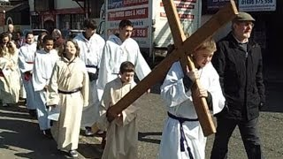 preview picture of video 'HD video of Christians in Ormskirk on Good Friday doing the Walk of Witness 2013'