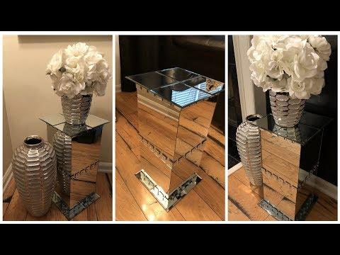 Dollar Tree DIY || 💕 Mirrored Pedestal End Tables 💕
