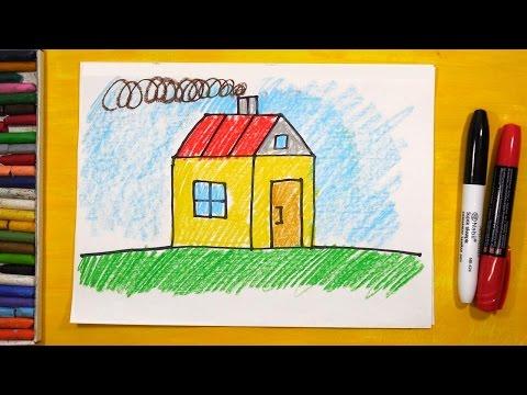 Как рисовать Дом. Урок рисования для детей от 3 лет   Раскраска для детей