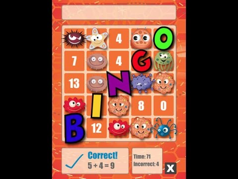 Screenshot of video: Maths Bingo App