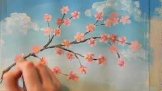 Смотреть онлайн Как научиться рисовать весеннее дерево красками гуашь