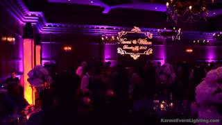 Villa Siena Purple Wedding with Color Changing Uplighting and Custom Monogram