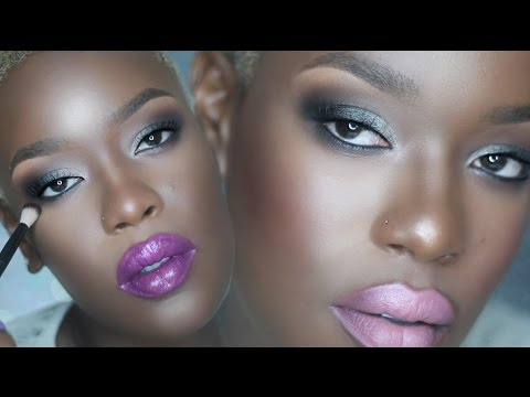Gray Smoky Eyes with Bright lips Spring Summer Makeup for dark skin