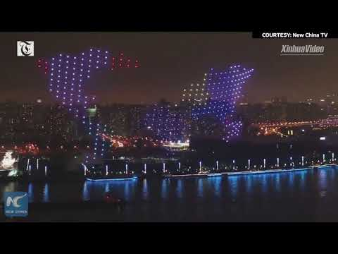 Dazzling drones light show at world AI conference in Shanghai