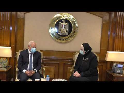 لقاء السيدة/نيفين جامع وزيرة التجارة والصناعة باللواء/ عادل الغضبان محافظ بورسعيد