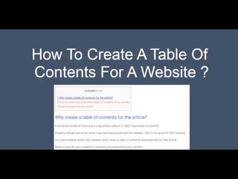 How To Create A Table Of Contents For A Website ?