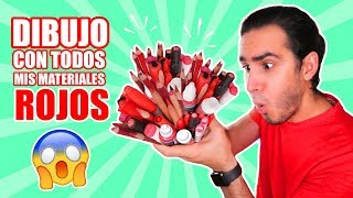 DRAWING WITH ALL MY RED COLOR MATERIALS !! Markers, pencils, watercolors, etc. HaroldArtist
