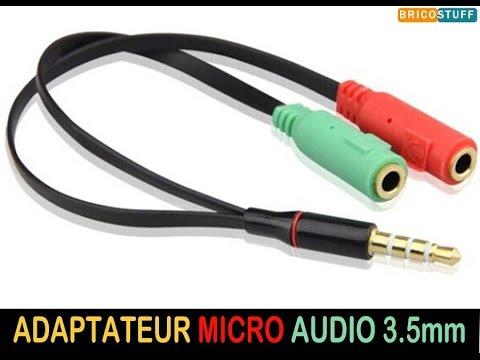 Adaptateur répartiteur pour casque audio micro 3 connecteurs port jack 3.5mm 1 male 2 femelles