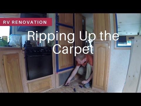 RV Renovation | Floor Prep | Ripping Up Carpet