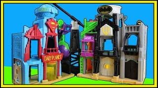 Spiderman defends Imaginext DC Super Friends Super Hero Flight City while Batman and Superman Battle