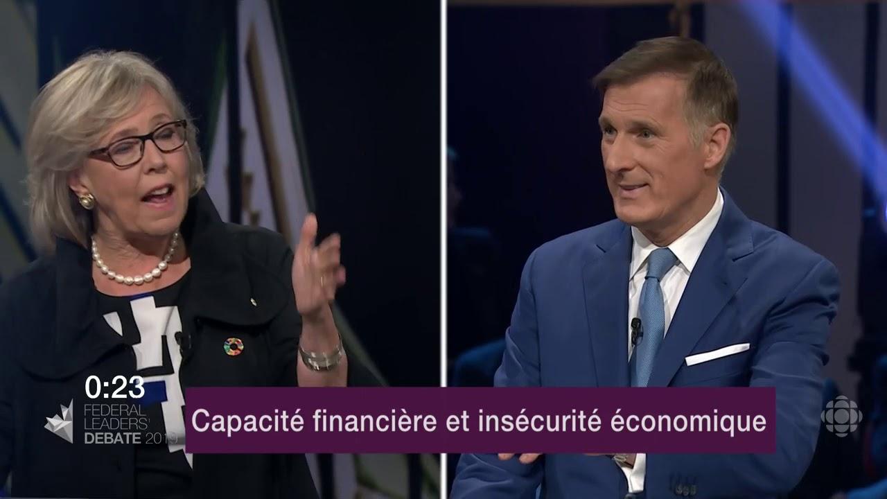 Elizabeth May et Maxime Bernier débattent sur l'endettement et les finances publiques