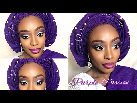 PURPLE PASSION NIGERIAN ENGAGEMENT BRIDAL MAKEUP & GELE