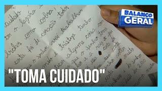 Filho escreve carta para pai ler enquanto trabalha nas buscas por Lázaro Barbosa