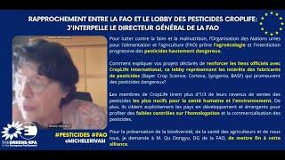 Rapprochement entre la FAO et le lobby des pesticides CropLife, la FAO doit rompre cette alliance