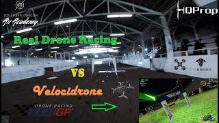 Velocidrone SIM Racing VS Real Racing Indoor Arena Drone Race