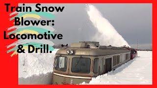 Train Snow Blower Consists of Locomotive & Drill (HD, 1080p)