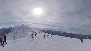 Панорамное видео на горных лыжах в Сочи. 360 video