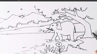 How To Make Elephant In The Jungle / Animal Drawing/ Jungle Art/