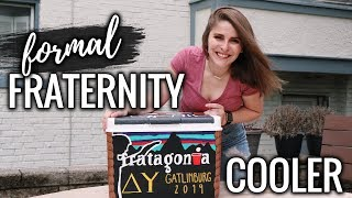 How To Paint A FRATERNITY FORMAL COOLER! 🌲⛰🎨 Tips & Tricks For Your Formal Cooler!