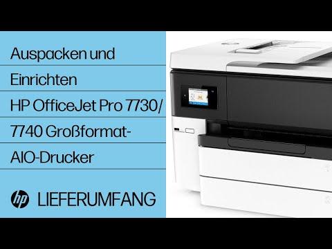 Auspacken und Einrichten des HP OfficeJet Pro 7740 Druckers