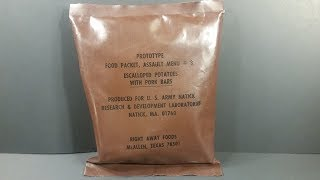 1981 Food Packet Assault 24 Hour MRE Review Potatoes w/ Pork Bars Prototype Ration Taste Testing