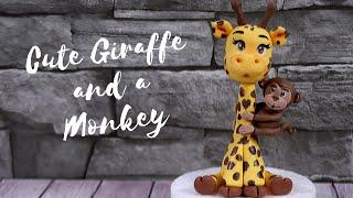 Cute Giraffe Cake Topper with a little Monkey