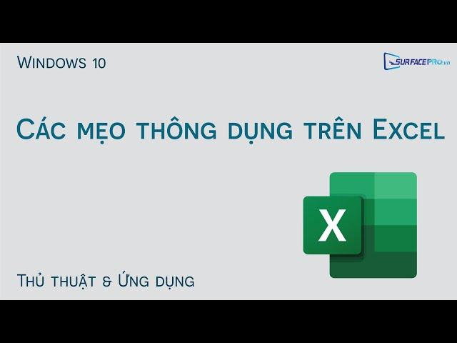 Một số mẹo thông dụng trên Excel