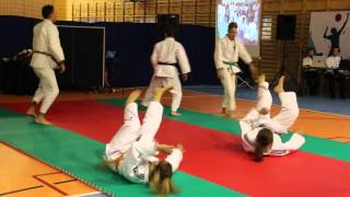 Pokaz judo podczas otwarcia sali gimnastycznej w Świerzowej Polskiej