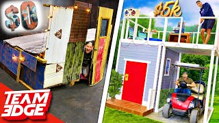 $0 vs $5000 Tiny House Challenge! *this one is surprising😂*