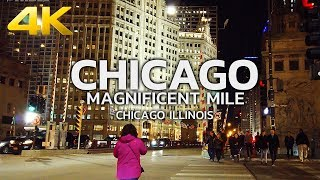 WALKING TOUR | CHICAGO - Downtown Chicago, Magnificent Mile, Michigan Ave, Night Time, Illinois