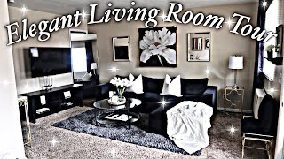 🖤SMALL APARTMENT GLAM | LIVING ROOM TOUR🖤(inexpensive Home Decor)|FOR LESS | Black & White | 2020!