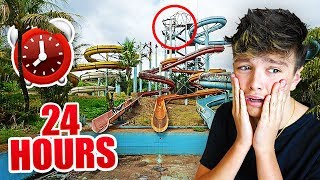 I Spent the Night in an Abandoned Waterpark & Almost Died... (24 Hour Overnight Challenge)