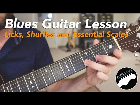 Blues Guitar Lesson - Three Licks, the SRV Shuffle, and Must Know Scales