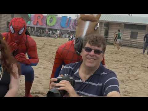 Spider Man Flash Mob Takes Over The Beach! Amazing Heroes in Real Life With Mary Jane & Black Cat!