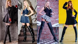 Much Gorgeous Skin Tight Latex&leather Long Boots Designs/how To Style Leather Thigh High Boots