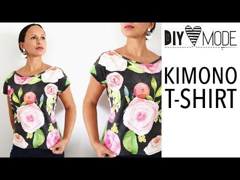 Kimono Tee nähen / T-Shirt mit kostenlosem Schnittmuster / deutsche Anleitung