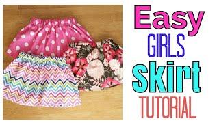 EASY GIRL SKIRT TUTORIAL | ELASTIC SKIRT | LITTLE GIRL CLOTHES
