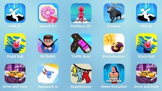 Hole.io, Stencil Art, Fun Race 3D, Cowboy, Stack Ball, Mr Bullet, Traffic Run, Blocksbuster