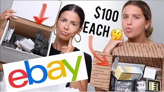 WE OPENED $100 EBAY MAKEUP MYSTERY BOXES | who got the better box?